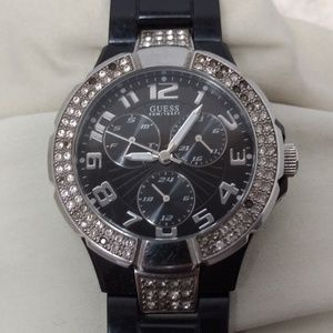 Guess Watch Black Stainless Steel Crystals Bling